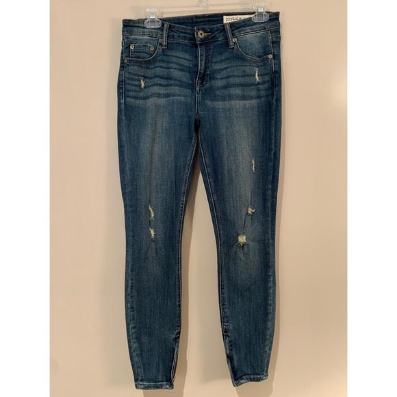 pistola Denim - Pistola High Rise Distressed Zip Ankle Jeans